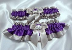 Regency Purple and Gray/Silver Satin Wedding Garter Set w/ Hand Tied Bow and Crystal Embellishment -Toss Garter Included - Plus Size Too