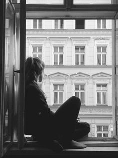 Black and White Photography of Beauty and Solitude I sit in the window, ready to crawl out, get away from my abusive boyfriend. He's taking a shower so i have a chance. As I'm about to leave he walks in. Window Photography, Alone Photography, Poses Photo, Snow Girl, Fear Of Flying, Black White, Belle Villa, Window View, Through The Window