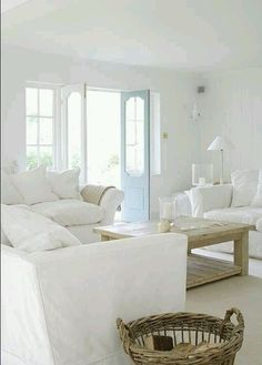 Living Room...love this so much. This is why I like white so much but think my husband is too sloppy for this!