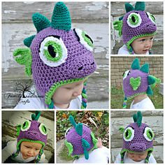 Ravelry: Dinosaur Dragon Spike pattern by Shannon Corcoran Family Traditions Crafts Crochet Dinosaur Hat, Crochet Baby Hats, Crochet For Kids, Knit Crochet, Dinosaur Pattern, Crochet Character Hats, Animal Hats, Red Heart Yarn, Kids Hats