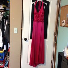 Pink Prom Dress Has a couple of pulled fabric in the front but barely noticeable! Ties in the back- holds it up. Only been worn once. Has a silk feeling to it. Has elastic back so it is stretchy. ⭐️offers are welcome. no trades.⭐️ Dresses Prom