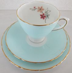 Vintage Delphine Bone China tea set - shabby chic - duck egg blue / aqua