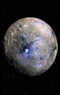 Images from NASA's Dawn probe have revealed a dark, cratered world whose brightest area is made of reflective salts -- not water ice. But several new studies show distinct lines of evidence for ice at or near Ceres' surface. Earth And Space Science, Earth From Space, Sistema Solar, Cosmos, Planet Pictures, Alien Photos, Space Series, Advantages Of Solar Energy, Astronomy