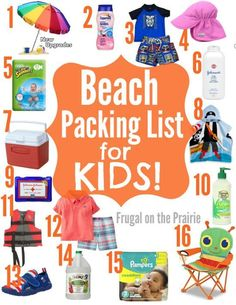The best beach packing list for kids! Check out these 16 must have items if you're spending the day in the sun with your child. - Tap the link to see the newly released collections for amazing beach bikinis Beach Vacation Tips, Beach List, Packing List For Vacation, Florida Vacation, Beach Fun, Vacation Trips, Beach Vacations, Packing Lists, Vacation Ideas