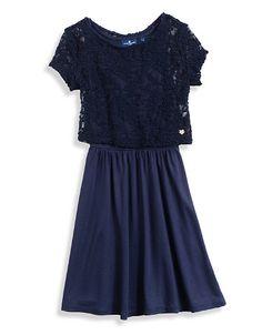 girls dunkelblaues kleid mit spitze tom tailor kids. Black Bedroom Furniture Sets. Home Design Ideas