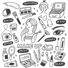 Make up artist equipments in doodle styl. Easy Doodle Art, Doodle Art Designs, Doodle Art Drawing, Kawaii Doodles, Cute Doodles, Makeup Stickers, Makeup Illustration, Graffiti Lettering Fonts, Doodle Quotes
