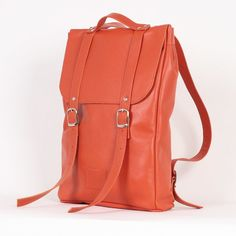 26ed331847 Pumpkin red middle size leather backpack rucksack   To order   genuine  leather minimalist backpack rucksack