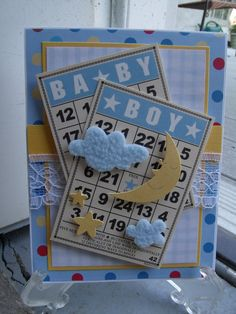 had to make a baby boy card too : ) I have all sorts of these bingo cards & have never used them : ) Baby Boy Scrapbook, Scrapbook Cards, Scrapbooking, Scrapbook Layouts, Baby Shower Cards, Baby Cards, Card Making Inspiration, Making Ideas, Baby Album