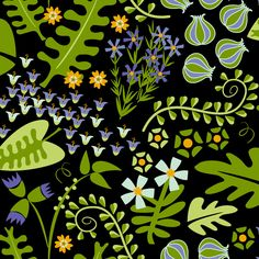 Modern Garden Floral Fabric - Herbal Evening By Lynnbishopdesign -Black Green Purple Flowers Cotton Fabric By The Yard With Spoonflower by Spoonflower on Etsy https://www.etsy.com/listing/535476811/modern-garden-floral-fabric-herbal