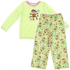 Green Monkey Fleece Pajamas for Girls
