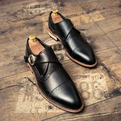 Men Casual Luxury Brand Flats Genuine Leather Black Formal Dress Single Monk Buckle Straps Wedding Brogues Shoes Zapatos Hombre