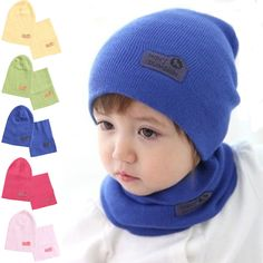 6 Colors Spring Children Hedging Cap Scarf Suit Leather Standard Solid  Color Candy Colored Wool Hats 7bfbdd63c686