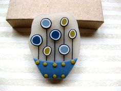 Blue and yellow flowerpot  Blue clay brooch  by dpuracasualidad, $12.00