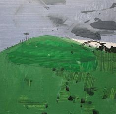 Woodlot Hill Original Spring Landscape Collage Painting on