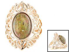 Timna Jewelry Collection(Tm) Oval Cabochon Multicolor Unakite Copper Ring
