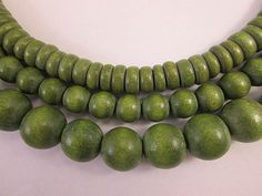 Wood Beads Set of 3 Strands Green Wood Beads by FLcowgirls on Etsy