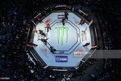 An overhead view of the Octagon as Bruce Buffer introduces Amanda Nunes of Brazil before her UFC bantamweight championship bout during the UFC 207 event at T-Mobile Arena on December 30, 2016 in Las Vegas, Nevada.