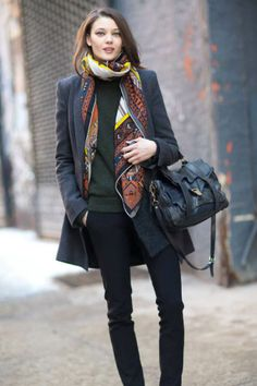 I love the length of the scarf and the line and colors of this ensemble.