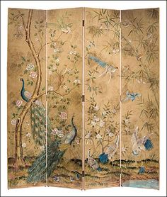 Hand-painted folding screen with peacocks. hand-painted wood folding screen featuring peacocks on an antiqued crackled background. The back of this folding screen has an antiqued crackled ivory finish Japanese Screen, Japanese Art, Folding Screen Room Divider, Folding Screens, Room Dividers, Floor Screen, Dressing Screen, Peacock Decor, Chinoiserie Wallpaper