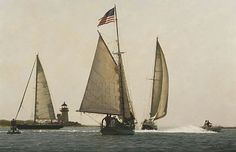 Li Xiao, Sailing by Brant Point, 2013, oil on canvas, 34 X 52 inches