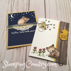 Hello Moon or Honey Bear Card? Which Card speaks to your? Today's cards feature the sweet little bear from the A Little Wild Bundle. Bear Card, Honey Bear, Hand Stamped Cards, Stamping Up Cards, Animal Cards, Masculine Cards, Baby Crafts, Kids Cards, Homemade Cards