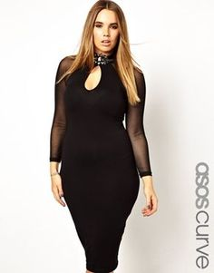8c6b24922aeb9 ASOS CURVE Plus Size Bodycon Dress With Deep Plunge Brooch Neck Curve  Bodycon Dresses