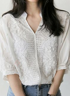 21981b9c3 New White Shirt Half Sleeve Embroidery Blouse Hollow Out Women Clothes 2018  V-Neck Floral Office Lady Womens Tops Blusa De Renda