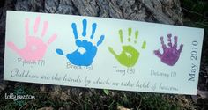 Cute DIY Handprint Board for Mother's Day!  http://lollyjaneboutique.blogspot.com/2010/04/mothers-day-handprint-board.html