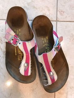792af1e8ab35 Papillio By Birkenstock Gizeh Sandals Pink White StripedPrint Sz 8