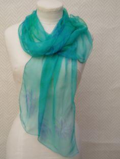 Echarpe, étole foulard en mousseline de soie turquoise