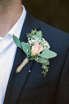Peach boutonniere with greenery for the groom {Rockhill Studio}. diy boutonniere Real Touch Rose Wedding Boutonniere for Groom, Groomsmen, Fathers - Life with Alyda Peach Boutonniere, Prom Corsage And Boutonniere, Rustic Boutonniere, Boutonnieres, Beach Wedding Boutonniere, Ranunculus Boutonniere, Groomsmen Boutonniere, Diy Wedding Flowers, Wedding Flower Arrangements