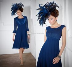 Wholesale Mother of the Bride Dresses - Buy Royal Blue Crew A-line Chiffon Lace Knee-length 2014 Party Gowns with Jacket of 3/4 Sleeves Short Mother of the Bride Dresses Plus Size, $113.53 | DHgate