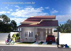 Planta de casa de 3 quartos sendo 1 suíte com home office e 1 vaga de garagem, esse projeto de casa para terreno estreito e telhado aparente e jardim interno