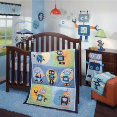 Boys love robots and this colorful collection is the perfect design to welcome home your little one. Shades of blues, metallic grey, yellow, green, turquoise, and goldenrod are complemented by the two-toned corduroy border.
