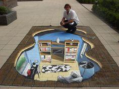 SAS Chalk Sidewalk Art Sidewalk Chalk Art by David Zinn Annabel Lee. 3d Street Art, 3d Street Painting, Murals Street Art, Amazing Street Art, Street Art Graffiti, Street Artists, 3d Sidewalk Art, Art Actuel, 3d Chalk Art
