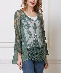 Another great find on #zulily! Green Sheer Crochet Three-Quarter Sleeve Top #zulilyfinds