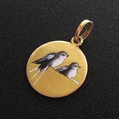 Antique Victorian 14k Gold Champleve Enamel Charm Pendant Enameled Love Birds   eBay..