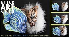 Maquillaje realizado las alumnas de Stick Art Studio Izaskun Pablo (pez) y Lorena Carrasco (tigre), foto realizada en una sesión de Book Carrasco, Stick Art, Studio, Make Up, Halloween, Tattoos, Makeup For School, Fish, Costumes