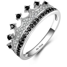 Princess Crown Rings 925 Sterling Silver Black Series For Couples ($118) ❤ liked on Polyvore featuring jewelry, rings, black and silver ring, black and silver jewelry, crown jewelry, black silver jewelry and black silver rings