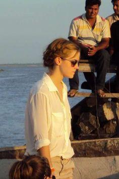 Emma Watson in a loose braided updo