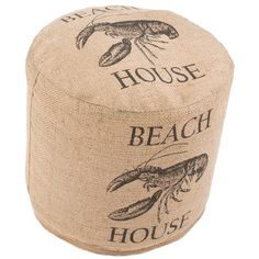 Beach House and Lobster Burlap Pouf - Large