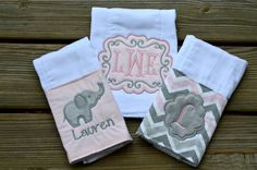 Baby girl monogrammed and appliqued personalized chevron gray and pink burp… Sewing Machine Embroidery, Baby Embroidery, Embroidery Ideas, Baby Monogram, Embroidery Monogram, Burp Rags, Burp Cloths, Zine, Easy Baby Blanket