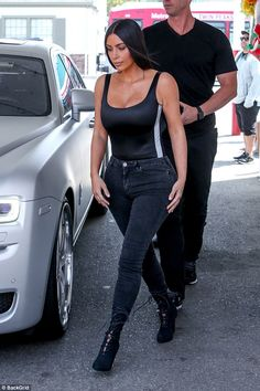 "Keep up with Kim in a pair of Good American jeans Click ""Visit"" to buy #DailyMail"