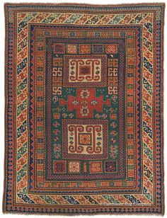 KARACHOV KAZAK, Southern Central Caucasian, 4ft 10in x 6ft 1in, Circa 1850. A virtuoso, quite early example of the prized Karachov substyle of Caucasian Kazak carpets, this highly collectible rug carries both tour-de-force artistry and excellent condition at over 1½ centuries of age with heavy, lustrous pile. A whimsical array of improvisationally rendered secondary motifs comprise the supporting cast to the enigmatic cruciform mandala and twin boxed reserves in the field.