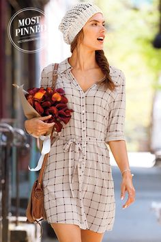 Day dressing is made simple with this chic staple. | Woven Shirtdress