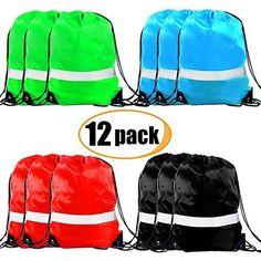 798a0c4f47 Drawstring Backpack Bags - 12 Pack Reflective Sack Backpack Sport Gym Cinch  Bag  fashion