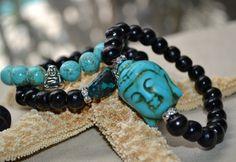 Set of 3 Black Wooden and Turquoise Beaded by uniquebeadingbyme #buddha #bracelets
