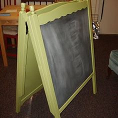 turn your old crib pieces into a chalkboard easel (click on link for more great ideas)
