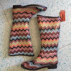 Missoni NEW for Target rain boots These rain boots by Missoni for Target sold out immediately. These are an extra pair I ordered and never wore! They are brand NEW in its original shoe box. They feature the Italian fashion house iconic zig zag pattern! Please check my closet for similar items and don't forget to like so you can be notified if this item has any changes! • Missoni  Shoes Winter & Rain Boots