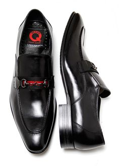 Brand Q Men's Black Slip-On Shoes Gucci Style Shoes with Metal Buckle - Q576